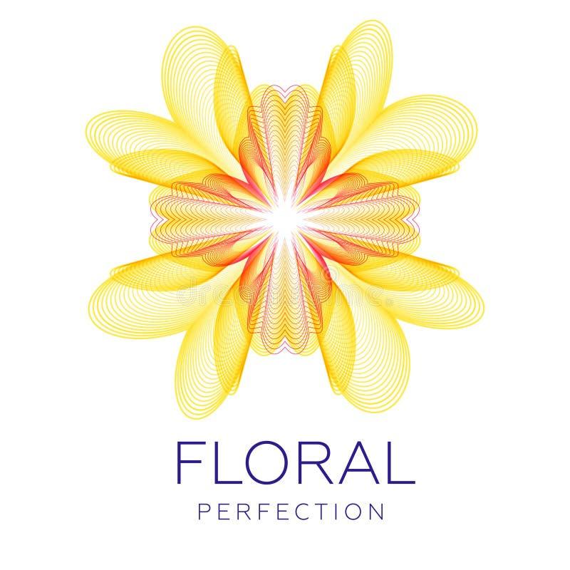 Φανταστικό κίτρινο λουλούδι, αφηρημένη μορφή με τα μέρη του συνδυασμού των γραμμών διανυσματική απεικόνιση