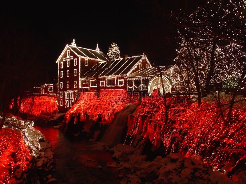 Φανταστικό κόκκινο Nightsky Χριστουγέννων διακοσμήσεων στοκ εικόνα με δικαίωμα ελεύθερης χρήσης