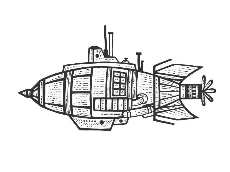 Φανταστικό μυθικό διάνυσμα χάραξης bathyscaphe ελεύθερη απεικόνιση δικαιώματος