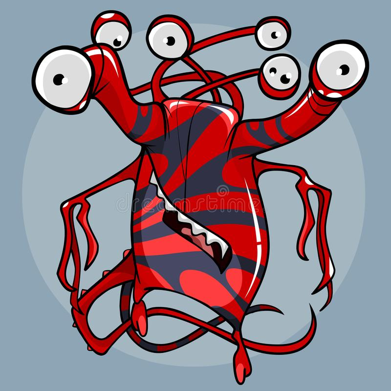 Φανταστικό πλάσμα κινούμενων σχεδίων του κόκκινου χρώματος με τα λωρίδες και με πολλά μάτια απεικόνιση αποθεμάτων