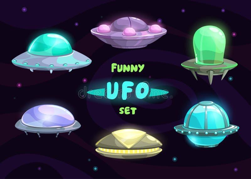 Φανταστικό σύνολο ufo κινούμενων σχεδίων απεικόνιση αποθεμάτων