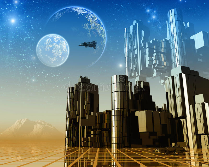 Φανταστικό τοπίο και διαστημικό σκάφος ελεύθερη απεικόνιση δικαιώματος