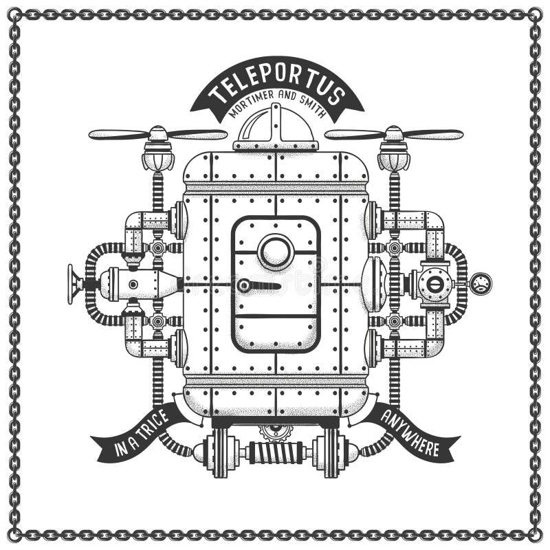 Φανταστικό teleportation μηχανών πετάγματος μετάλλων steampunk ελεύθερη απεικόνιση δικαιώματος
