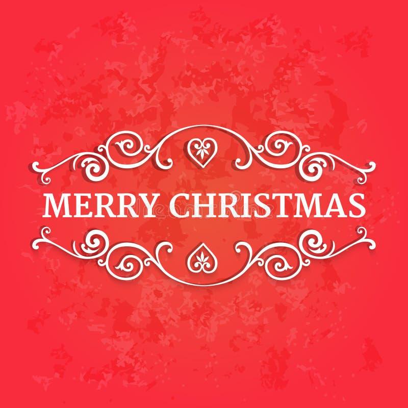 Φανταχτερά περίκομψα σύνορα με τη Χαρούμενα Χριστούγεννα κειμένων στο κόκκινο κατασκευασμένο υπόβαθρο ελεύθερη απεικόνιση δικαιώματος