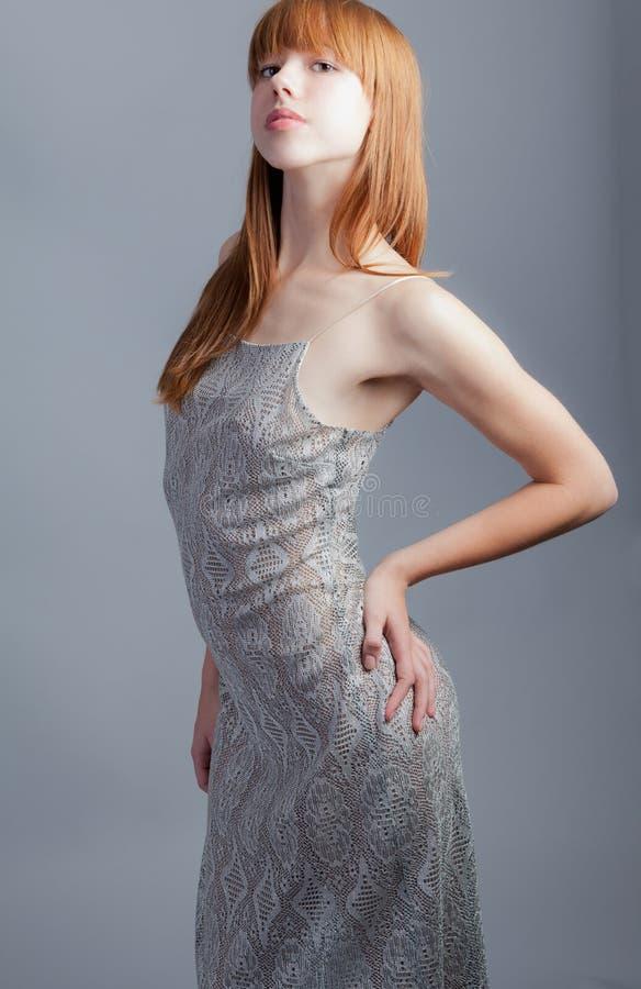 φανταχτερή γυναίκα φορεμά στοκ εικόνα