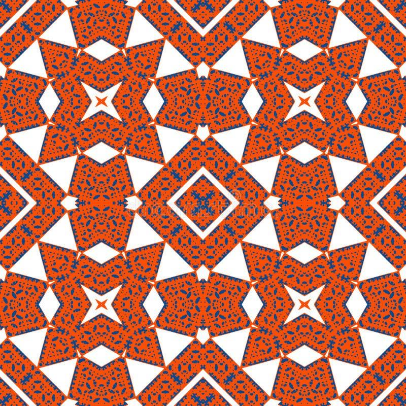 Φανταχτερή διακόσμηση - άνευ ραφής σχέδιο Κόκκινο και μπλε, άσπρο υπόβαθρο απεικόνιση αποθεμάτων