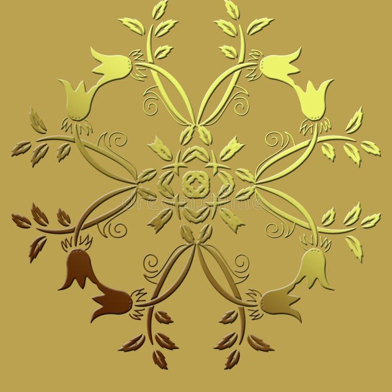Φανταχτερό κυκλικό σχέδιο με τις τουλίπες και κλάδοι με τα φύλλα στοκ εικόνες