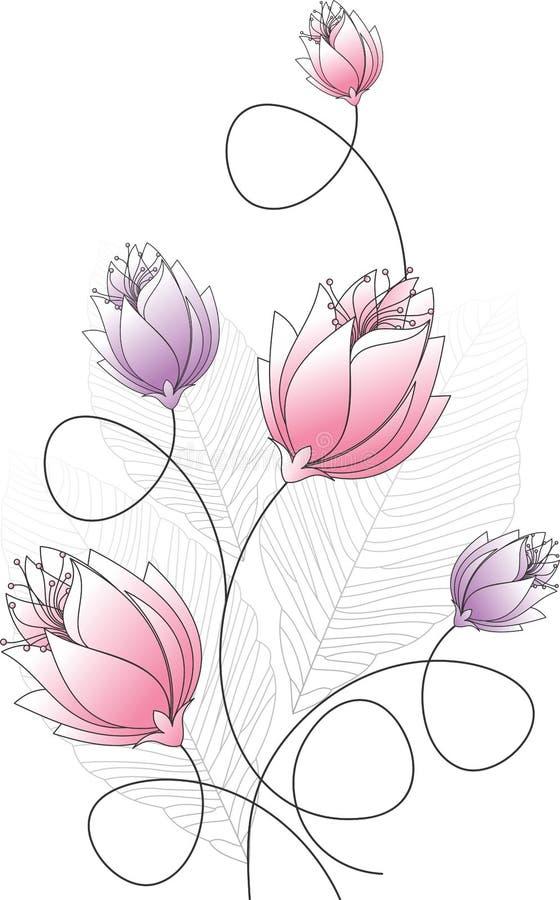 Φανταχτερό σχέδιο λουλουδιών διανυσματική απεικόνιση