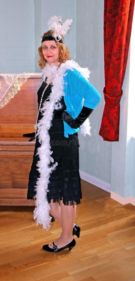 φανταχτερό φόρεμα πτερυγίων του 1920 εκλεκτής ποιότητας στοκ φωτογραφίες με δικαίωμα ελεύθερης χρήσης