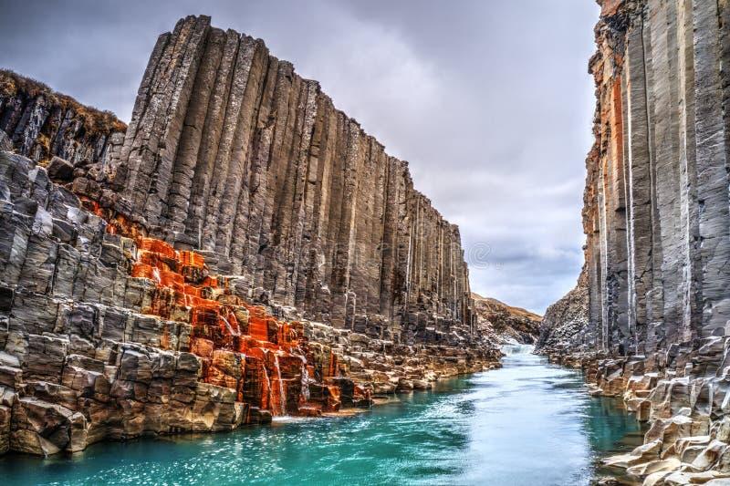 Φαράγγι βασαλτών Studlagil, Ισλανδία στοκ φωτογραφία
