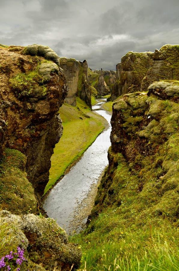 Φαράγγι Fjadrargljufur στην Ισλανδία στοκ εικόνα με δικαίωμα ελεύθερης χρήσης