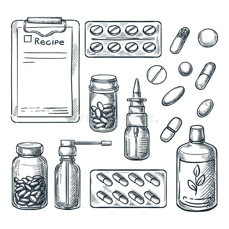 Φαρμακείο, ιατρική και απεικόνιση σκίτσων υγειονομικής περίθαλψης Χάπια, φάρμακα, μπουκάλια, στοιχεία σχεδίου συνταγών ελεύθερη απεικόνιση δικαιώματος