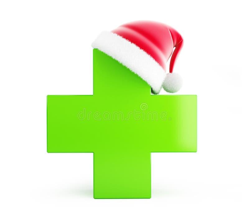Φαρμακείο Χριστουγέννων, καπέλο santa σε ένα άσπρο υπόβαθρο διανυσματική απεικόνιση