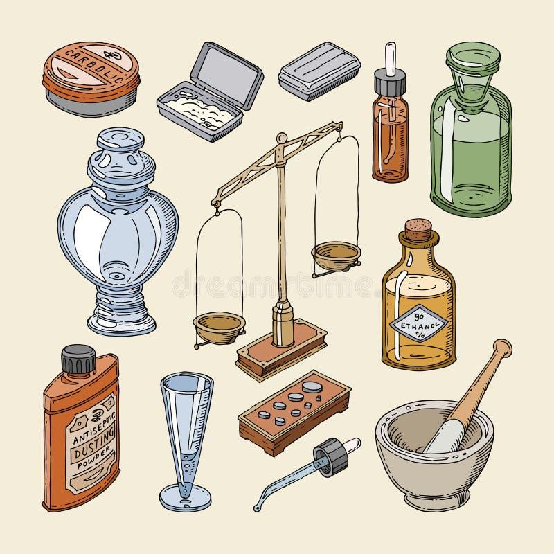 Φαρμακείων μπουκαλιών διανυσματικό εκλεκτής ποιότητας ιατρικό εμπορευματοκιβώτιο φαρμάκων γυαλιού παλαιό με τη χημικές υγρές ιατρ διανυσματική απεικόνιση