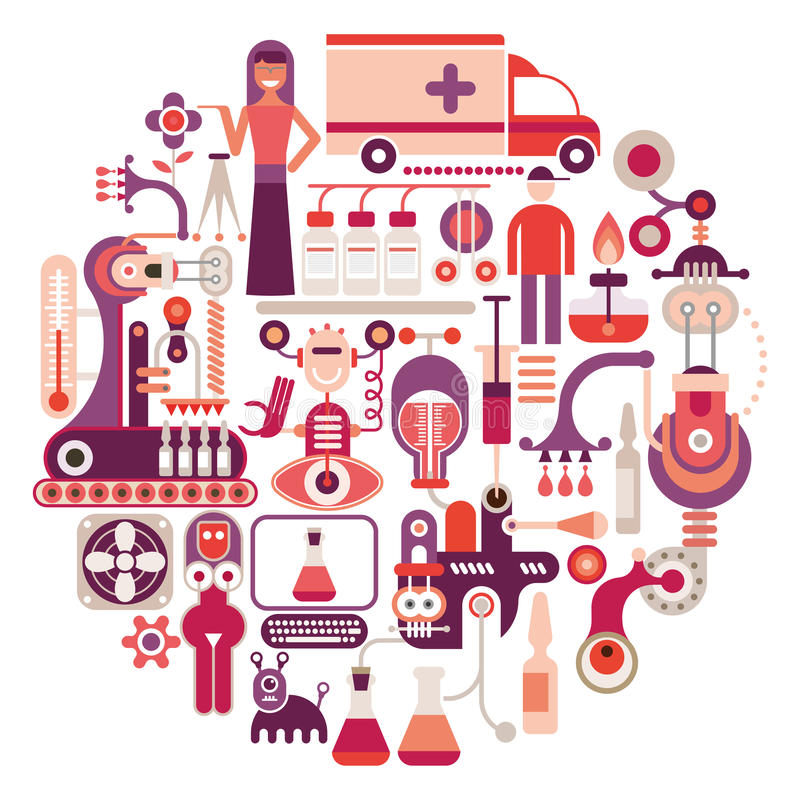 Φαρμακευτικό εργοστάσιο - διανυσματική απεικόνιση ελεύθερη απεικόνιση δικαιώματος