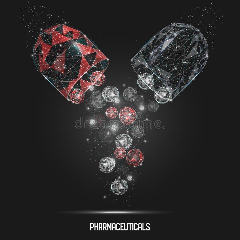 Φαρμακευτικό υπόβαθρο τέχνης καψών διανυσματικό γεωμετρικό polygonal ελεύθερη απεικόνιση δικαιώματος