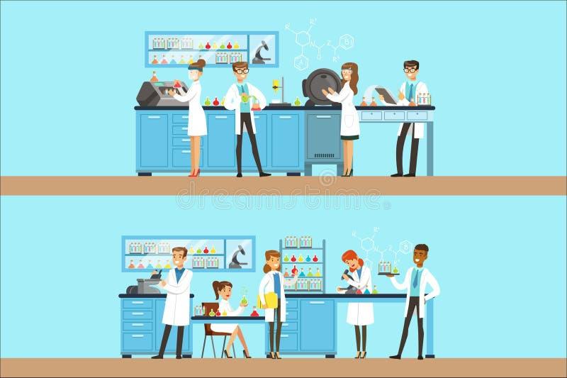 Φαρμακοποιοί στο χημικό ερευνητικό εργαστήριο που κάνει τα πειράματα και που τρέχει χημικές τις δοκιμές διανυσματική απεικόνιση