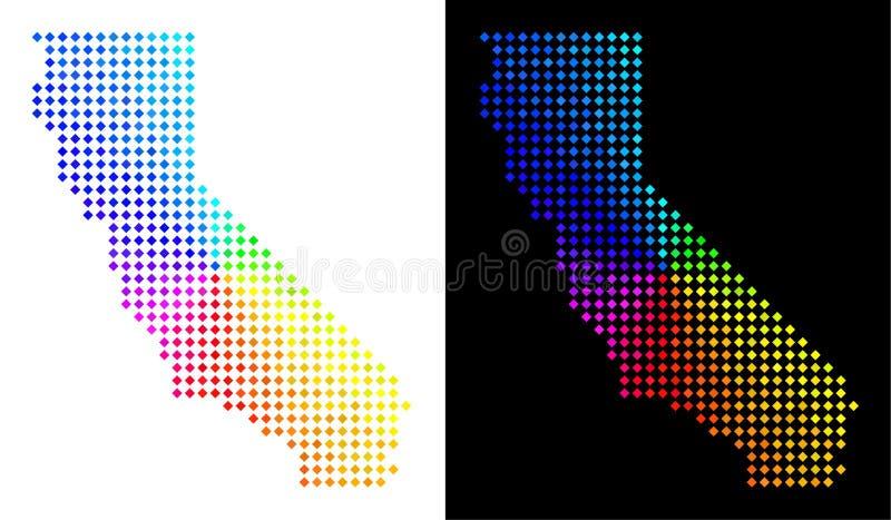Φασματικός χάρτης Καλιφόρνιας σημείων διανυσματική απεικόνιση
