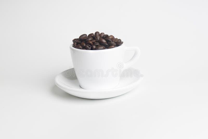 Φασόλια καφέ στο άσπρο φλυτζάνι στο άσπρο υπόβαθρο στοκ εικόνες με δικαίωμα ελεύθερης χρήσης