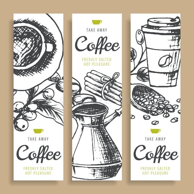 Φασόλια καφέ, ψημένος καφές, συρμένα χέρι διανυσματικά εμβλήματα μελανιού υποβάθρου φρέσκος Τούρκος καφέ ελεύθερη απεικόνιση δικαιώματος