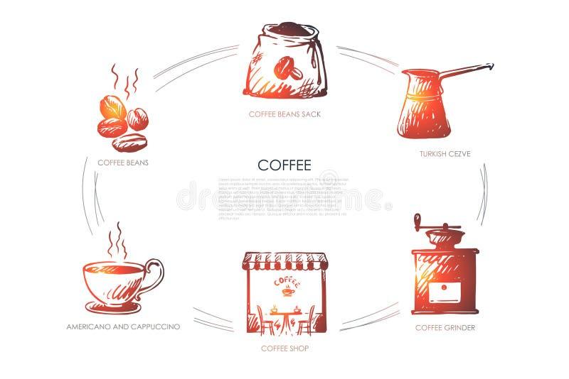 Φασόλια καφέ, americano και cappucino, καφετερία, μύλος, τουρκικό cezve, διανυσματικό σύνολο έννοιας σάκων φασολιών διανυσματική απεικόνιση