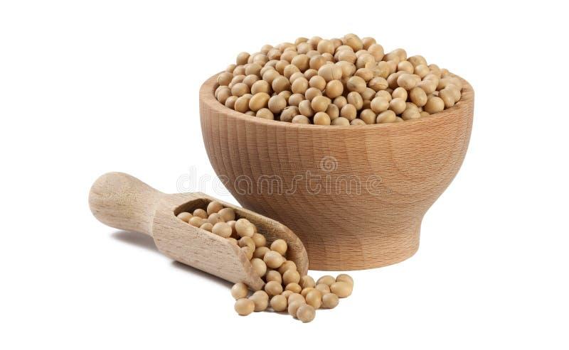 Φασόλι σόγιας στο ξύλινο κύπελλο και σέσουλα που απομονώνεται στο άσπρο υπόβαθρο διατροφή Συστατικό τροφίμων στοκ φωτογραφίες