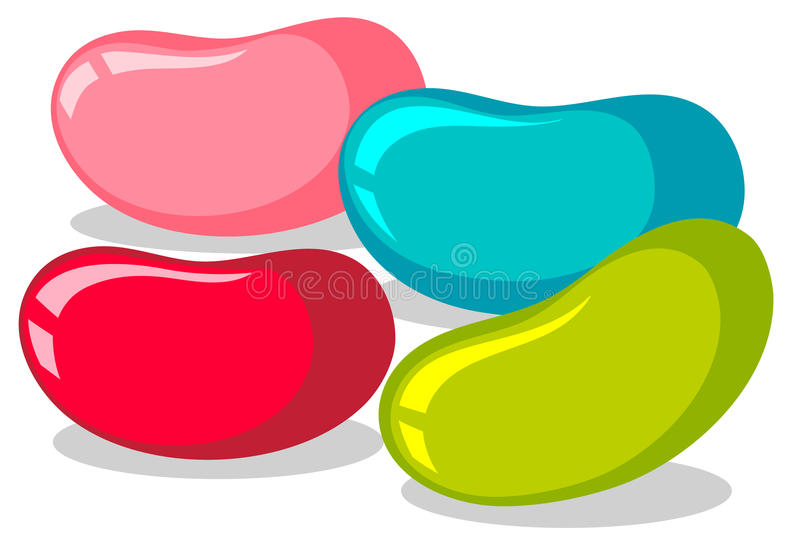 Φασόλια ζελατίνας σε τέσσερα χρώματα απεικόνιση αποθεμάτων