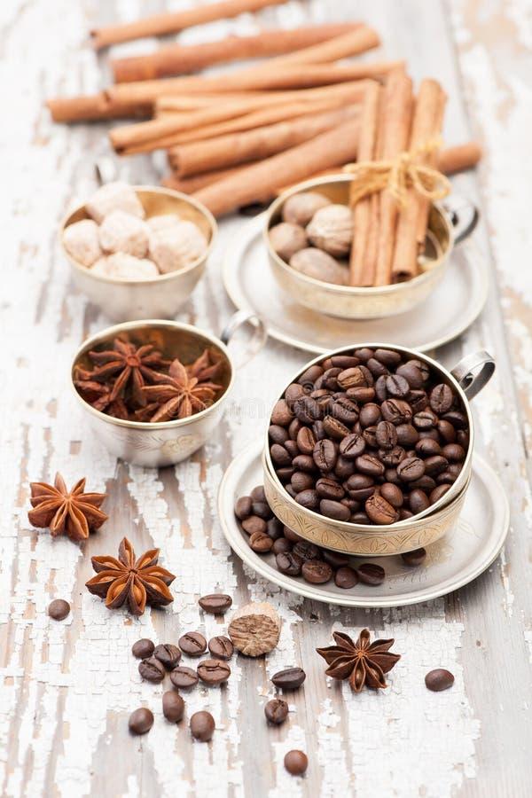 Φασόλια και καρυκεύματα καφέ στοκ εικόνες