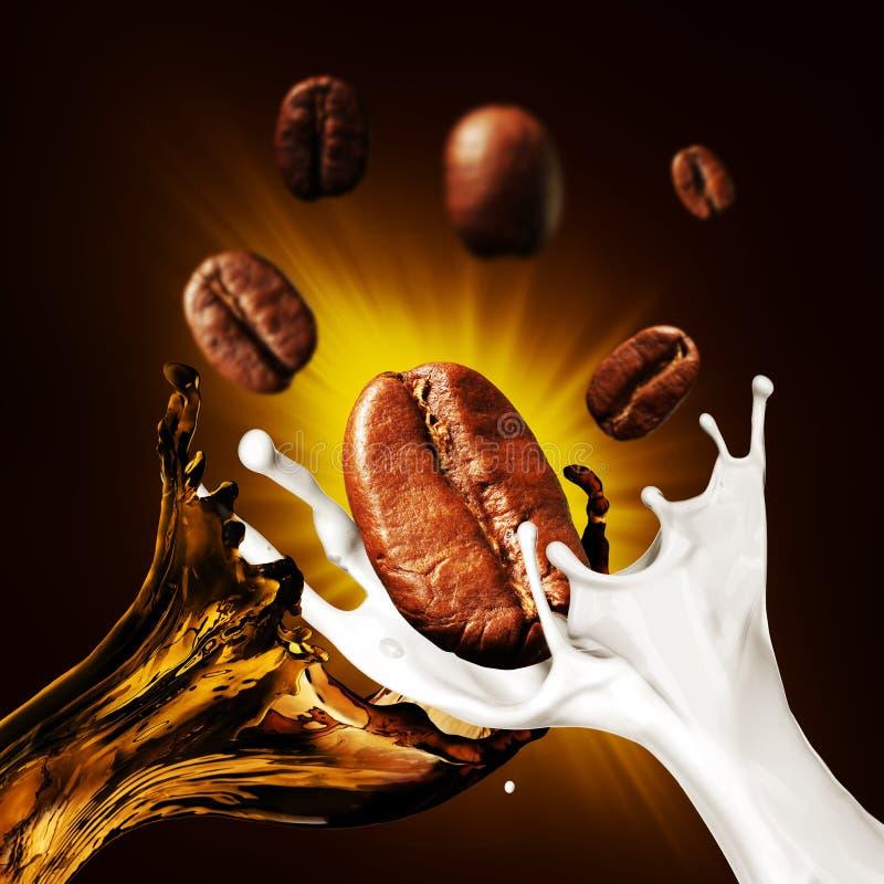 Φασόλια καφέ και ένας παφλασμός του καφέ και του γάλακτος στοκ φωτογραφία