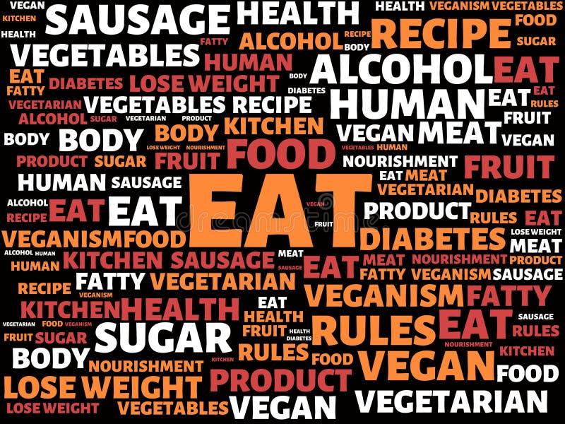 ΦΑΤΕ - εικόνα με τις λέξεις που συνδέονται με τη ΔΙΑΤΡΟΦΗ θέματος, λέξη, εικόνα, απεικόνιση απεικόνιση αποθεμάτων