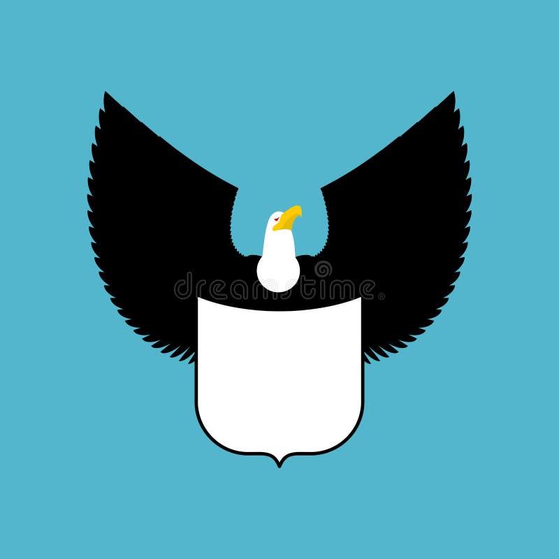 Φαλακροί αετός και ασπίδα μεγάλο ισχυρό έμβλημα πουλιών απεικόνιση αποθεμάτων