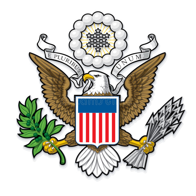 Φαλακρός αετός αμερικανικών μεγάλος σφραγίδων διανυσματική απεικόνιση
