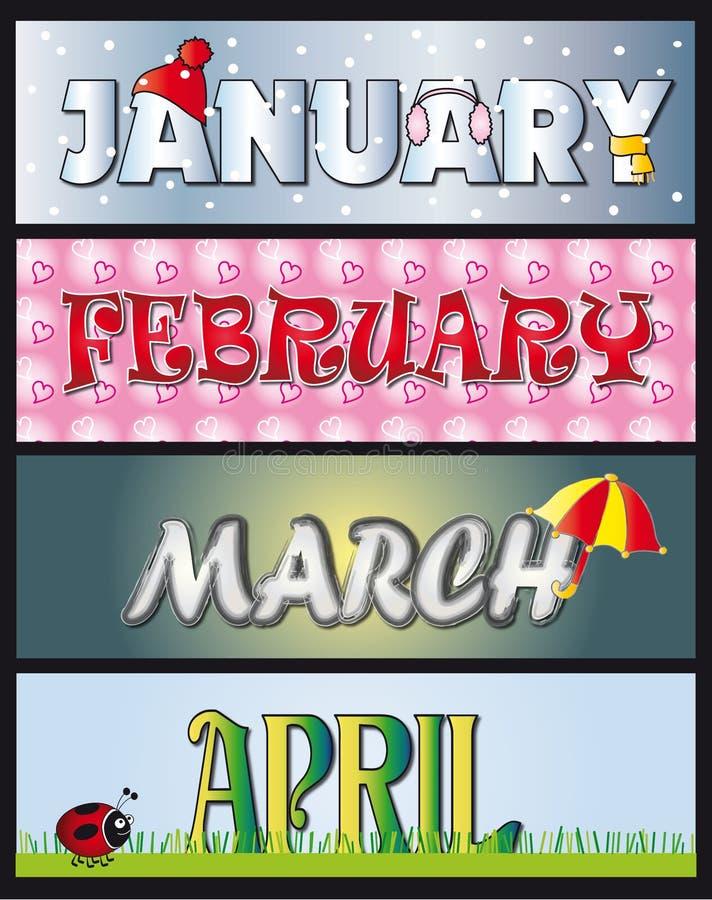 Φεβρουάριος Απριλίου Ι& διανυσματική απεικόνιση