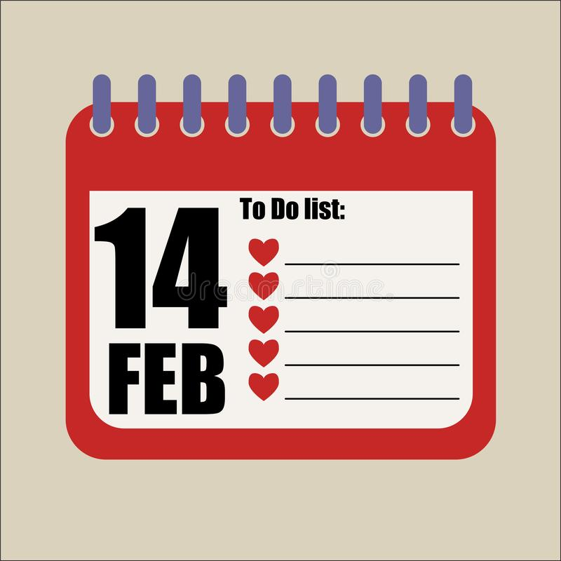 14 Φεβρουαρίου για να κάνουν ρομαντικό κενό καταλόγων ελεύθερη απεικόνιση δικαιώματος