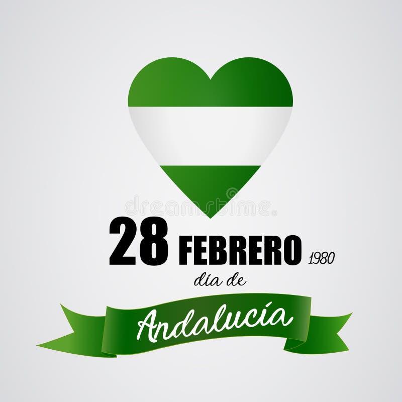 28 Φεβρουαρίου ημέρα της Ανδαλουσίας αυτονομίας διανυσματική απεικόνιση