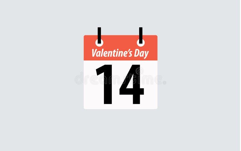 14 Φεβρουαρίου ημερολόγιο σημαιών χωρών ημέρας βαλεντίνων διανυσματική απεικόνιση