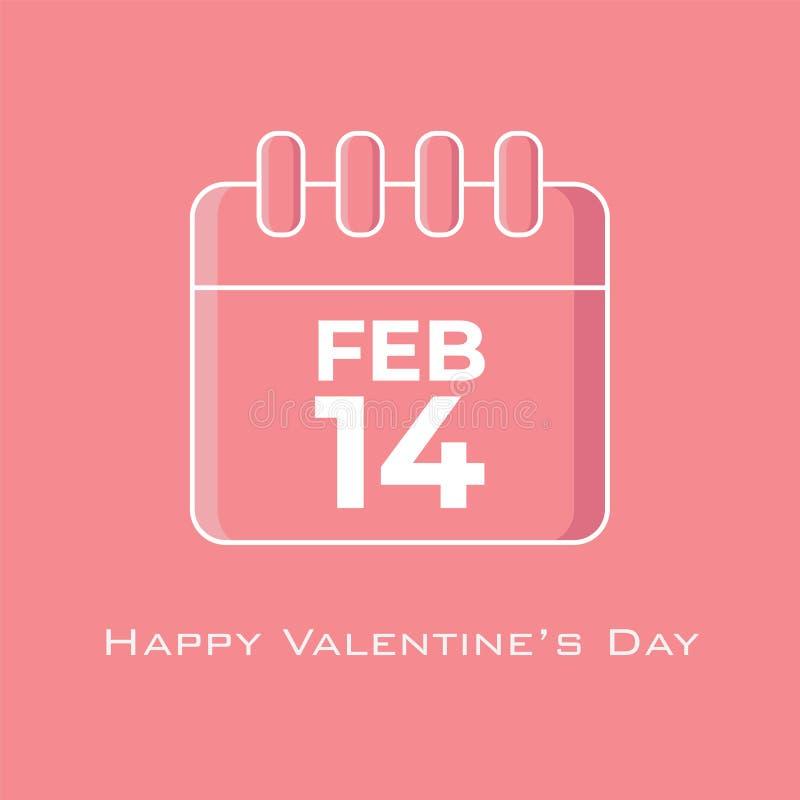 14 Φεβρουαρίου ημερολόγιο στο ρόδινο χρώμα τόνου στο επίπεδο ύφος σχεδίου ελεύθερη απεικόνιση δικαιώματος