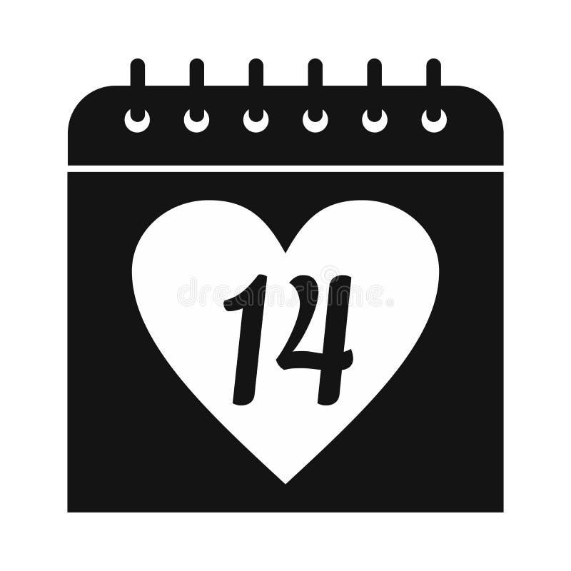 14 Φεβρουαρίου ημερολογιακό απλό εικονίδιο ελεύθερη απεικόνιση δικαιώματος