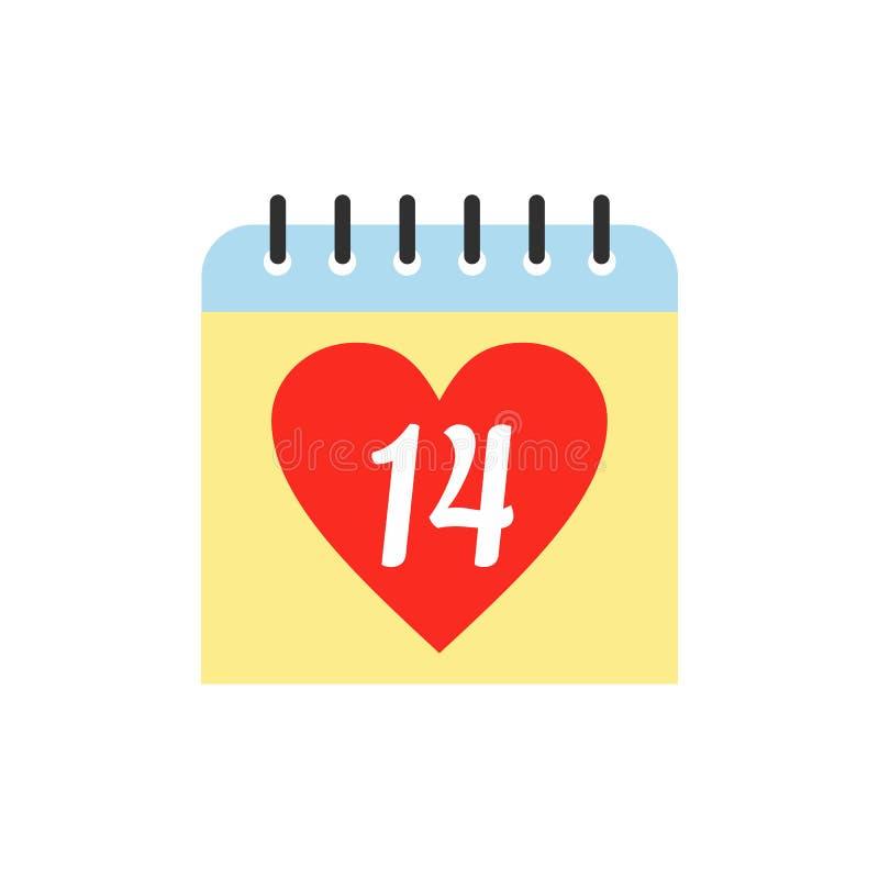 14 Φεβρουαρίου ημερολογιακό επίπεδο εικονίδιο διανυσματική απεικόνιση