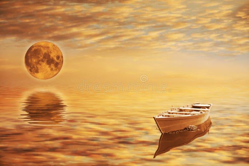 φεγγάρι βαρκών στοκ εικόνες με δικαίωμα ελεύθερης χρήσης