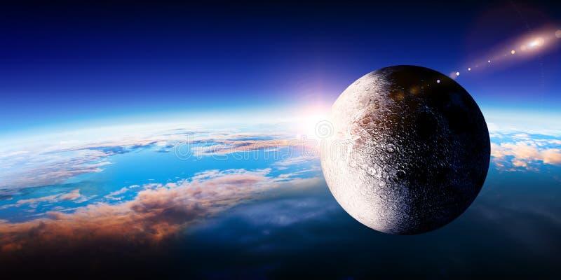 Φεγγάρι και γη, άποψη από την τροχιά πλανητών, διαστημική ομορφιά στοκ εικόνα με δικαίωμα ελεύθερης χρήσης