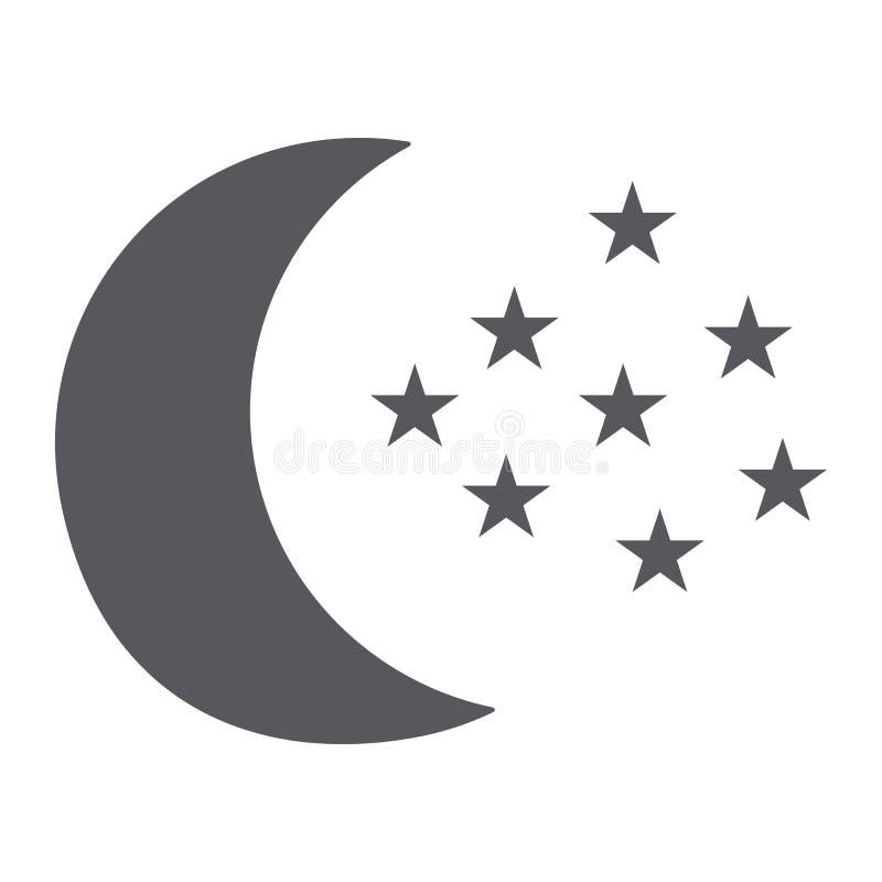 Φεγγάρι και εικονίδιο αστεριών glyph, νύχτα και πρόβλεψη, σημάδι νυχτερινού ουρανού, διανυσματική γραφική παράσταση, ένα στερεό σ ελεύθερη απεικόνιση δικαιώματος