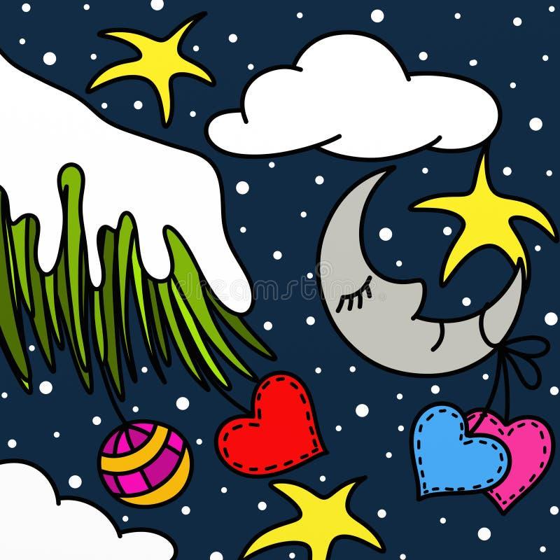 Φεγγάρι και διακοσμήσεις για τα Χριστούγεννα διανυσματική απεικόνιση