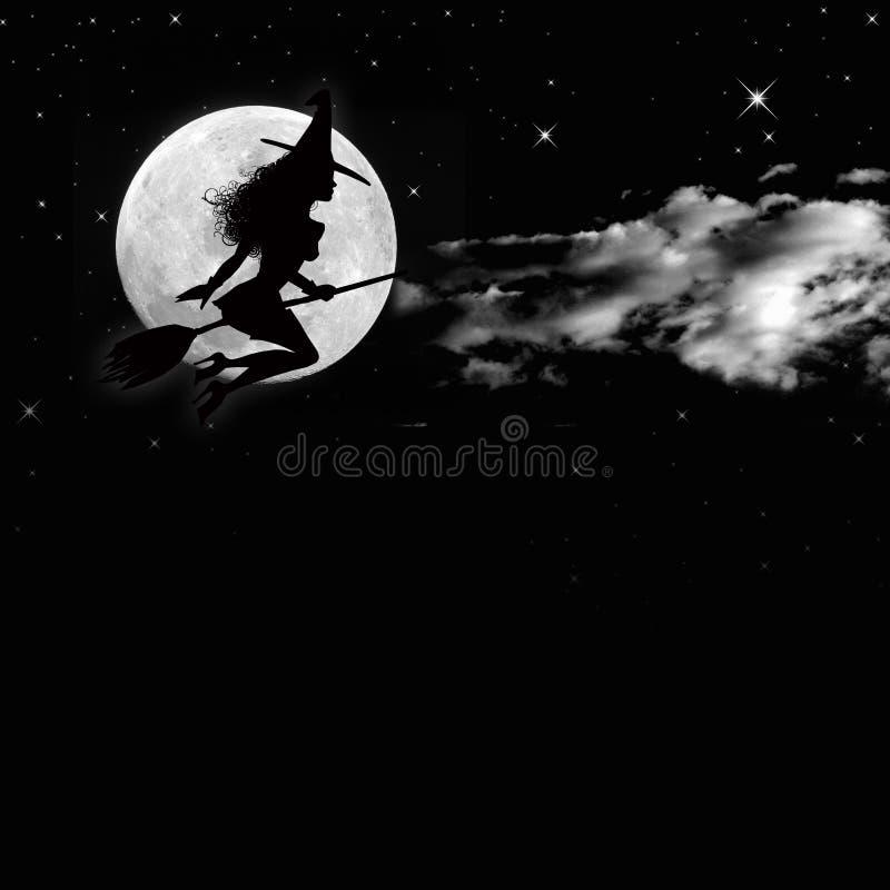 Φεγγάρι και μάγισσα ελεύθερη απεικόνιση δικαιώματος