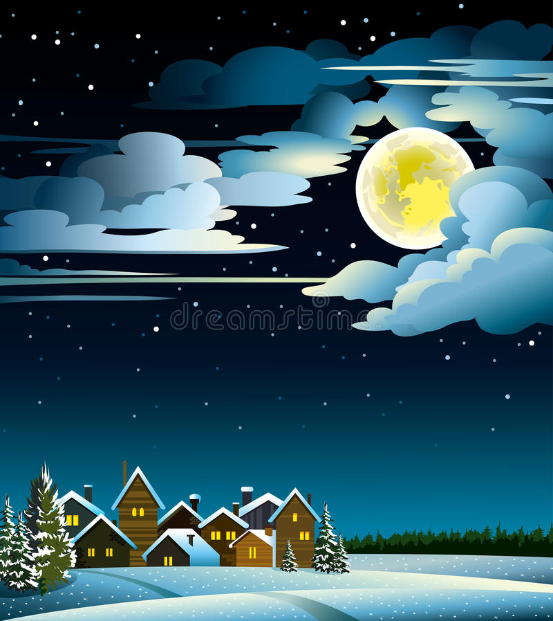 Φεγγάρι και χειμώνας σπιτιών διανυσματική απεικόνιση