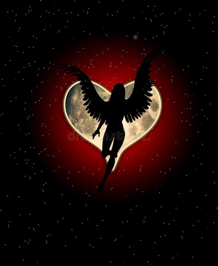 φεγγάρι καρδιών αγγέλου Στοκ Φωτογραφίες