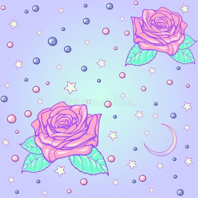 Φεγγάρι κρητιδογραφιών goth και άνευ ραφής σχέδιο τριαντάφυλλων ελεύθερη απεικόνιση δικαιώματος