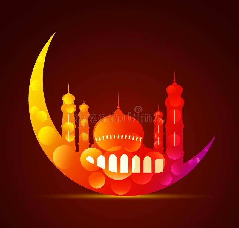 Φεγγάρι με ένα μουσουλμανικό τέμενος στα διάφορα χρώματα διανυσματική απεικόνιση