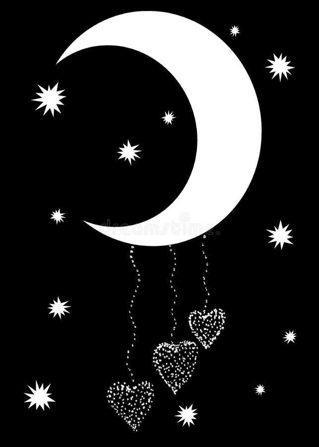 Φεγγάρι με χάντρες και τρεις καρδιές σε ένα μαύρο υπόβαθρο Γραφική ζωντανεψοντη εικόνα χειροποίητος απεικόνιση αποθεμάτων