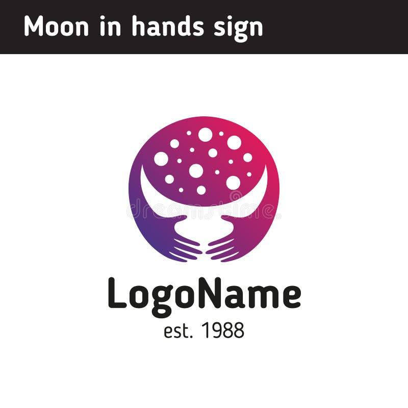 Φεγγάρι λογότυπων ή απεικόνισης στα χέρια, νέος μήνας διανυσματική απεικόνιση